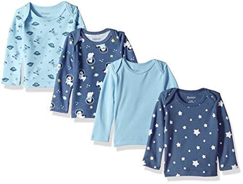 Hanes Ultimates - Juego de 4 Camisetas de Manga Larga para bebé, Variedad 2, 18-24 Meses