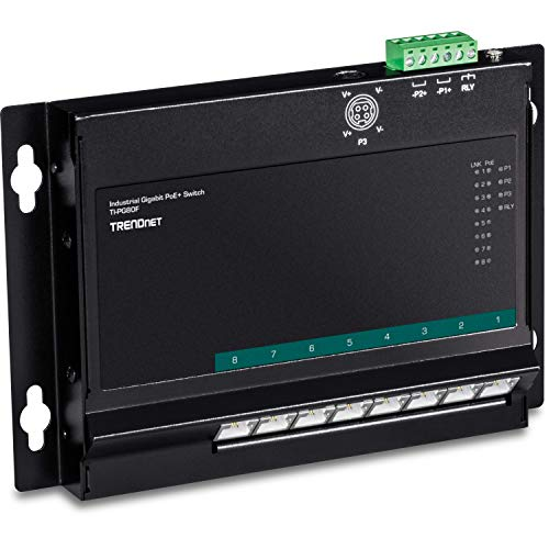 TRENDnet 8-Port Industrial Gigabit Poe+ Wall-Mounted Front Access Switch, TI-PG80F, 8X Gigabit Poe+ Ports, DIN-Rail Mount, 48 –57V DC Power Input, IP30, 200W Poe Budget, Lifetime Protection