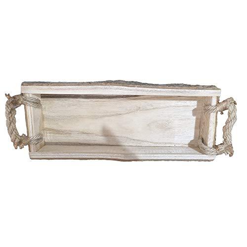 Bandeja de Madera con Corteza Asas Cuerda de Yute, Jardinera decoración hogar y jardín