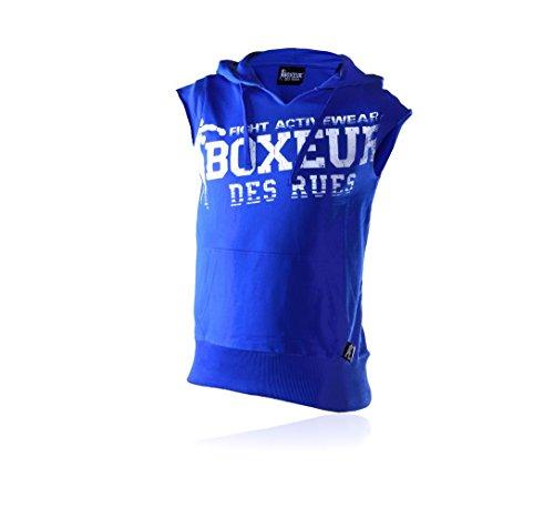 Boxeur Des Rues Fight Activewear Felpa Maniche Corte con Cappuccio e Stampa Uomo, Blu (Royal), M