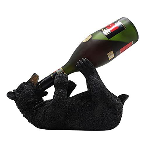 Soporte de botella de vino creativo europeo, Resina Oso Lobo Figuras Estante de vino, Soporte de botella de encimera Estatuas de decoración de cocina Estante de vino de mesa Soporte de exhibición