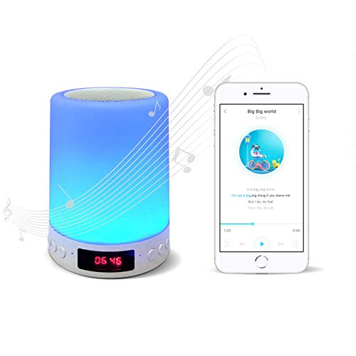 LED Smart Night Lights with Portable Wireless Bluetooth Speaker, Dimmable and Color-Changeable Mini Table Lamp for Kids,Travel,Gift(White)