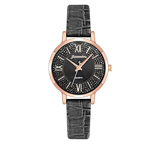 CXJC Reloj de Cuarzo con dial dial Romano. 3ATM Reloj Deportivo Impermeable. Cuero + Material de aleación (Color : UN)