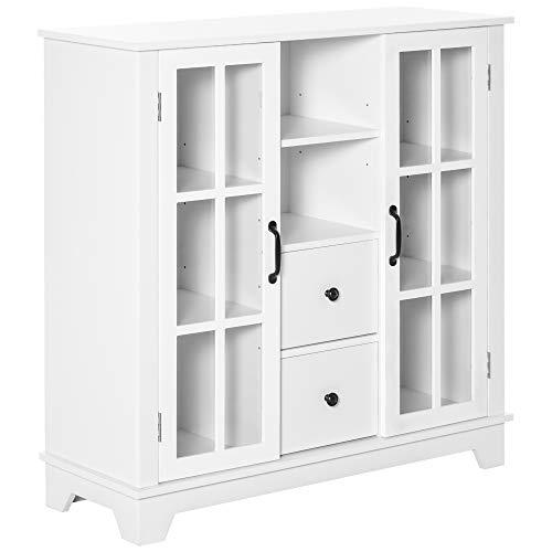 HOMCOM Küchenschrank Sideboard Aufbewahrungsschrank modern elegant mit 2 Schubladen und Glastüren für Esszimmer Wohnzimmer MDF Weiß 100 x 35 x 100 cm