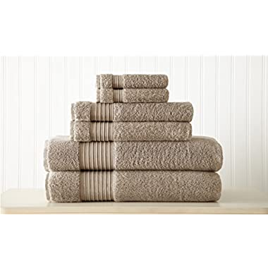 Amrapur Overseas 6-Piece Ultra Soft 700GSM 100% Turkish Cotton Towel Set [Taupe]