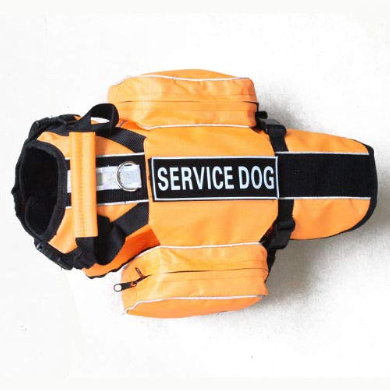 FidgetKute Large Dog Adjustable Control Backpack Dog Harness Vest Saddle Bags Label Patch orange S Fits Girth 16   20