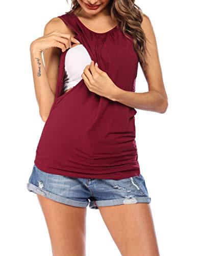 VOOMALL Camisa de Lactancia para Mujer Camisón de Maternidad sin Mangas Camisa de Maternidad Still con Dos Capas Top de Maternidad Recortado y Delgado Rojo Vino, XXL