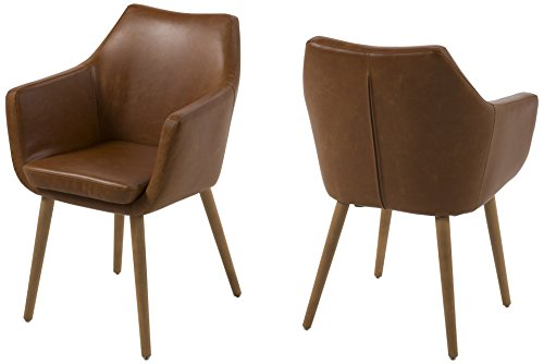 AC Design Furniture Lore - Silla con brazos (revestimiento de piel artificial, patas de roble), Marron