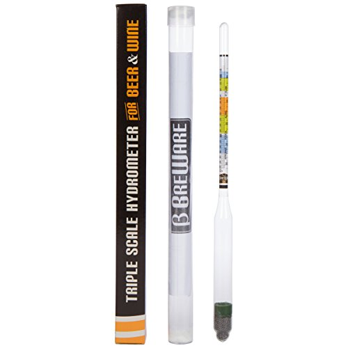 Home Brew Triple Scale Hydrometer for Beer, Wine, Cider and Mead Highly Accurate, Easy to Read, Specific Gravity Tester for Home Alcohol Brewing