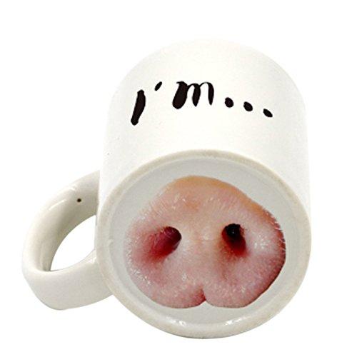 REFURBISHHOUSE Vaso Taza de Nariz de Cerdo Perro Divertido Taza de Cafe te Risa de Bebida narca de Ceramica Creativa Nariz de Cerdo