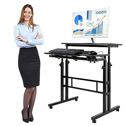 Height Adjustable Stand Up Desk, Mobile Standing Desk Sit to Stand Computer Desk Laptop Table Workstation with Rolling Wheels for Home Office