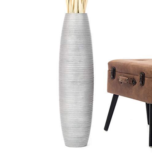 Leewadee jarrón Grande para el Suelo – Florero Alto y Hecho a Mano de Madera exótica, Recipiente de pie para Ramas Decorativas, 75 cm, Plateado