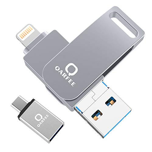Qarfee USB Stick 32GB für iPhone USB 3.0 Flash Drive USB Speicherstick Memory Stick kompatibel mit iPhone/iPad/USB/iOS/Micro USB/Type C Anschluss/Handy Tablet/PC, Hellgrau