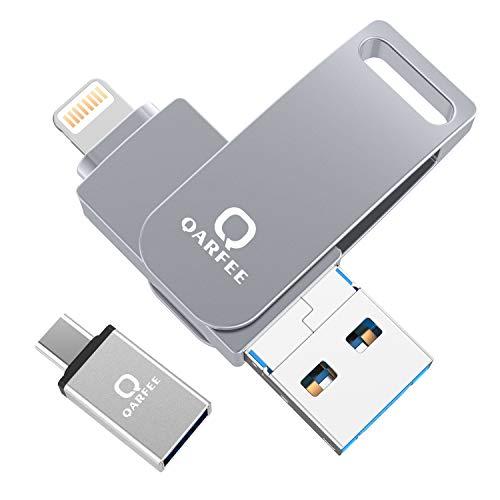 Qarfee USB Stick 64GB für iPhone, USB Speicher iPad Speichererweiterung für iPhone Handy Tablet und PC USB 3.0 Flash Laufwerk kompatibel mit iPhone iPad/USB/Micro USB/Type C Anschluss Grau