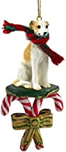 Whippet Tan White Dog Candy Cane Christmas Holiday Ornament