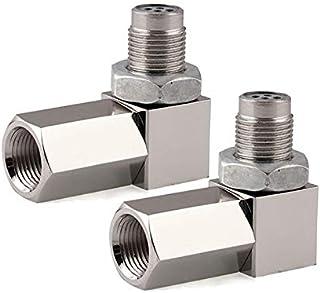 2 PCS 90 Degree Oxygen O2 Sensor Socket Real Mini Catalytic Converter 201 Stainless