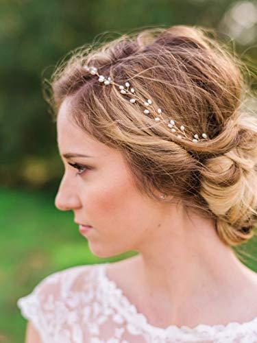 Catery Bride Wedding Headband Pearl Hair Vine Bridal Hair Accessories for Women(Gold)
