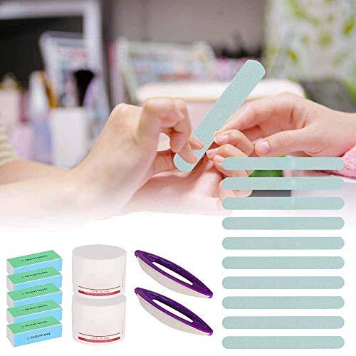 Kit de polissage de manucure, ensemble d'outils de soins des ongles, 19 pcs barre de polissage des ongles cire brosse bloc kit de barre de polissage pour professionnel manucure pédicure salon(01)