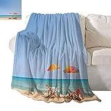 Travel Throwing Blanket Beach Chair Umbrella on Beach Leisure Tourist Attractions Decorative Photo