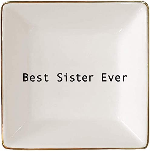 Best Sister Ever Gift Jewelry Ring Holder Elegant Trinket Tray or Dish by Simply Charmed product image