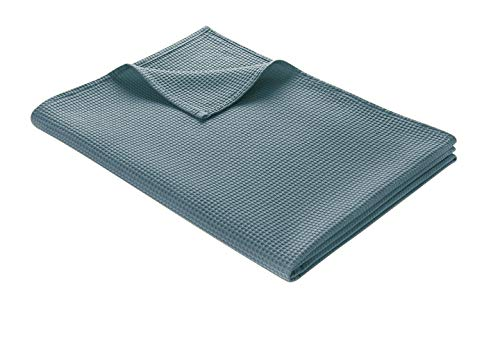 WOHNWOHL Tagesdecke 150 x 200 cm • Waffelpique leichte Sommerdecke aus 100% Baumwolle • Luftige Sofa-Decke vielseitig einsetzbar • Pflegeleichte Wohndecke • Baumwolldecke Farbe: Blue Mirage