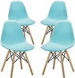 KunstDesign Set de 4 Sillas de Comedor, Diseño Ergonómico,Patas de Madera de Haya Natural (Azul)