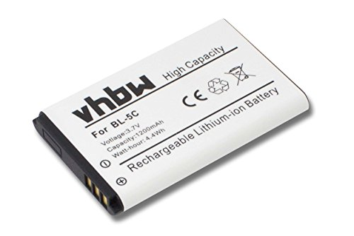 vhbw Akku passend für Amplicomms PowerTel M6300 Handy Smartphone Telefon ersetzt A051 (1200mAh, 3.7V, Li-Ion)