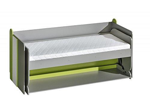 Jugendbett und Schreibtisch Futuro F14, Multifunktionsbett, Schrankbett mit Schreibtisch, Wandbett, Funktionsbett für Jugendzimmer (Weiß/Graphite/Grün)