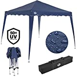 Deuba® Pavillon Capri 3x3m wasserdicht Pop-Up inkl. Tasche UV-Schutz 50+ Faltpavillon Gartenzelt Partyzelt Blau