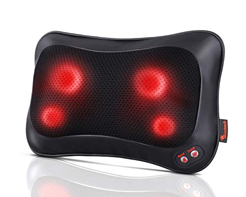 Back Massager Neck Massager Massage Pillow with Heating Function – 2 Keys Control with Net Cover Kneading Massager, Relieve Muscle Pains Soreness Fatigue at Home Office Car, Best Gifts for Parents