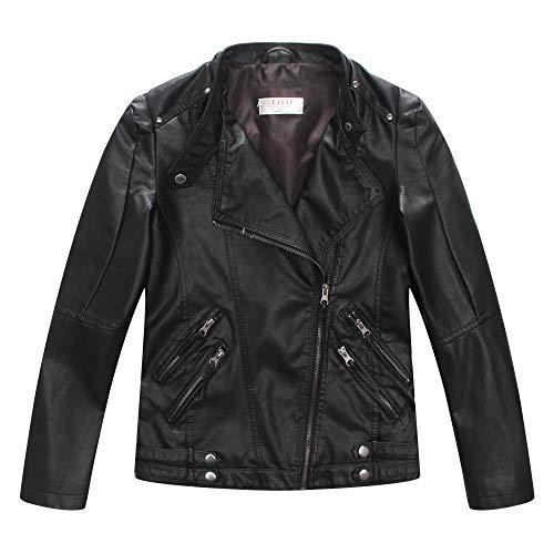 LJYH Boys Spring Faux Leather Moto Jackets Kids Zipper Fall Coats Outerwear 5-6yrs 120cm