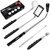 Preciva 5PCS Magnetic Telescoping Pick-up Tool Kit with 15lb and 1lb Pick Up Rod, Round and Square 360 Swivel Adjustable Inspection Mirror and Telescoping Flexible LED Flashlight (Batteries Included)