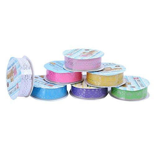 Outflower 3Pcs Mignon Dentelle Fleur Clair Bricolage Décoratif Washi Tape Masking Tape Collant Papier de Masquage Adhésif Ruban Scrapbooking Téléphone Bricolage Décoration(Couleur aléatoire)