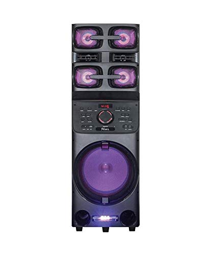 Axess PABT6027 Bluetooth PA Speaker, Loud Party Speaker with 5 Speakers, LED Disco Lights, USB - Aux - FM - Mic & Guitar Inputs, Bass-Treble Control, X-Bass, Remote Control
