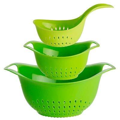 Lakeland Dishwasher Safe Oval Nesting Colander Drainer Trio with Handles
