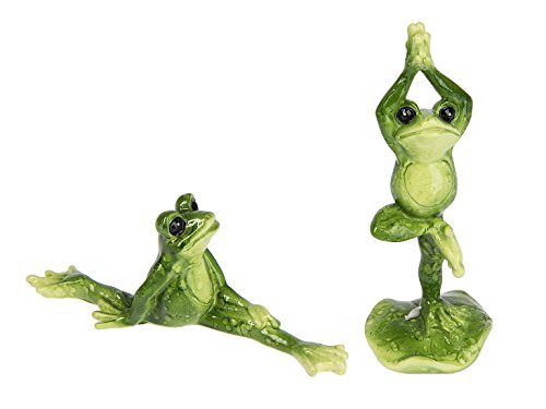 Yoga Posing Frogs Kelly Green 1.5 x 4.5 Resin Stone Garden Figurines, Set of 2
