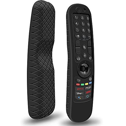 Funda de Silicona para Mando LG Magic MR21GA MR21GC Antideslizante Funda Protector Compatible con Mando TV LG Magic Control 2021 (Negro)