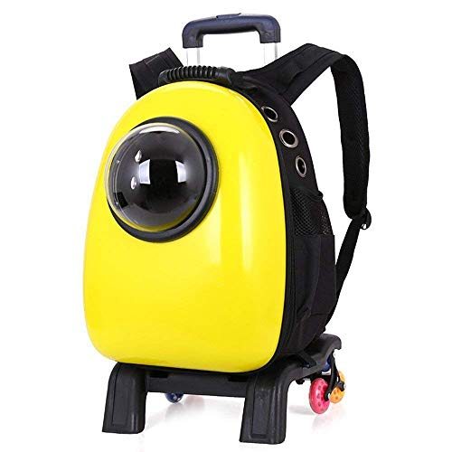 ESSEASON Breathable Pet Dog Carrier Backpacks Puppy Cat Soft Sided Travel Bag Padded, Sturdy Waterproof Removable Multifunction Pet Trolley Backpack Carrier with Wheels