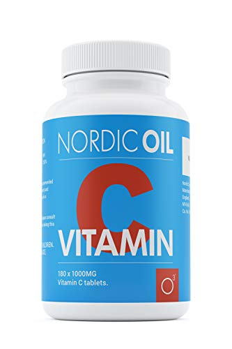 Nordic Oil Vitamin C 1000mg | 180 Tablets (6 Month's Supply) | Ascorbic Acid | Suitable for Vegetarians & Vegans