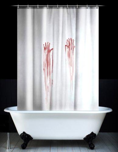 Spinning Hat - Cortina de ducha con huellas de sangre, color blanco