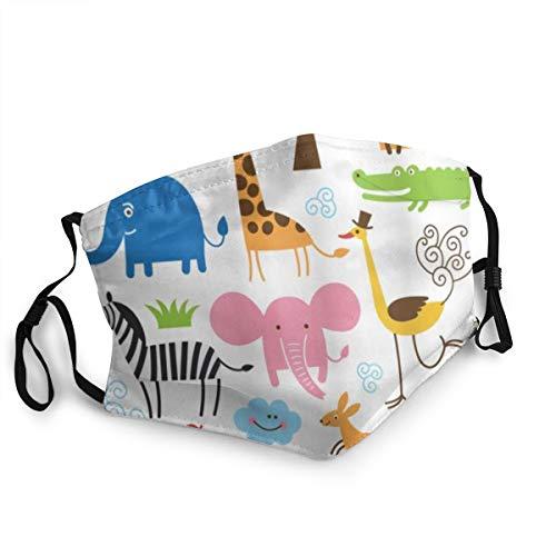 BROWCIN Tier Giraffe Elefant Zebra Schildkröte Kinder Kinderzimmer Baby Themen Cartoon Comic Staubwaschbarer wiederverwendbarer Mund Warmes winddichtes Baumwollgesicht