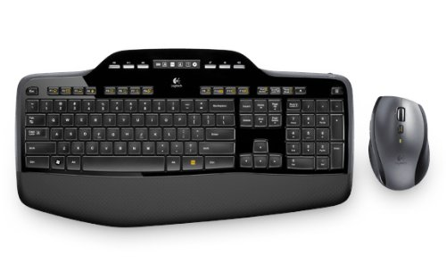 Logitech MK710 Kabelloses Tastatur-Maus-Set, 2.4 GHz Verbindung via Unifying USB-Empfänger, 3-Jahre Batterielaufzeit, LCD-Batterieanzeige, Handballenauflage, PC/Laptop, US QWERTY-Layout - schwarz