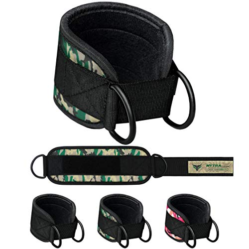 Mytra Fusion Double D Ankle Strap Ankle Cuff Straps Adjustable Leg Weight Wrist Belt for Cable (Camo Green, Regular)