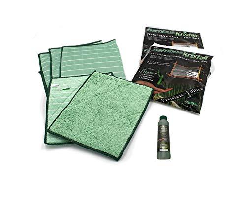 Bambus-Kristall 6er Set PREMIUM - 3 Poliertücher & 2 Vorreinigungstücher + Reiniger 250ml