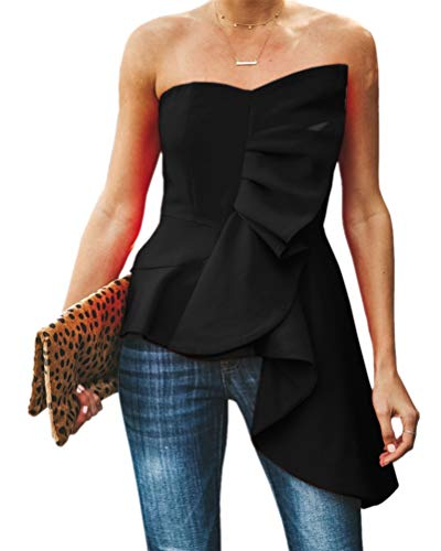 Valphsio Womens Ruffle Party Blouse Strapless Asymmetrical Peplum Statement Top Shirts (Large, Black-1)