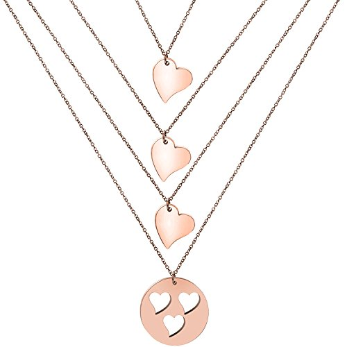 Zuo Bao Mother and Daughters Necklace Set- Mom and Daughter Jewelry- Gift for Mom (Rose Gold-3 Daughter)