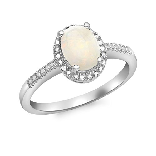 Carissima Gold 9 ct White Gold Diamond and Opal Cluster Ring - Size N