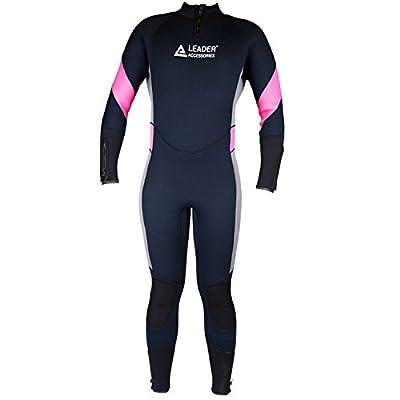 Leader Accessories Women's 5mm Black/Pink/Gray Large Wetsuit for Scuba Diving Fullsuit Jumpsuit