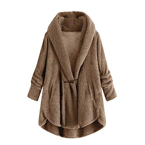 TEFIIR Damen Wintermantel Langarmshirt Kapuze Winterjacke Sweater Jacke Plus Size Button Plüsch Tops mit Kapuze lose Strickjacke Mantel Winterjacke