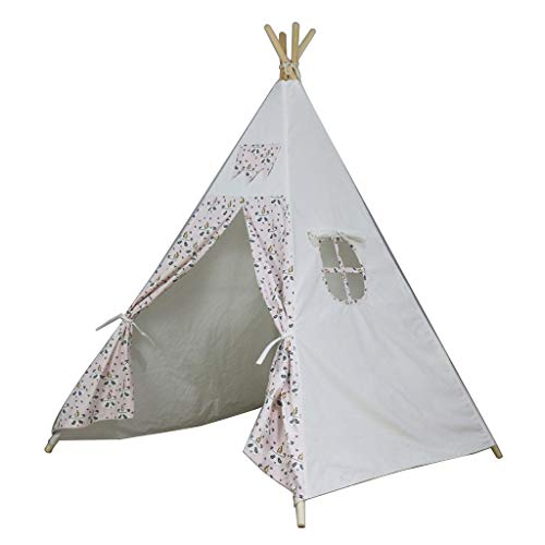 CSQ Four Corners Indian Tent, Children's Quiet Reading Exclusive Tent Wooden Bracket Tent/White Fabric with Cute Pattern Design Children's play house (Color : B, Size : 120 * 120 * 150CM)